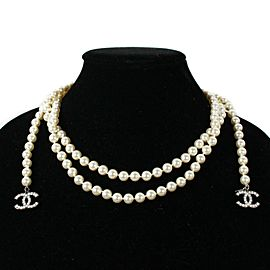 """Chanel - Pearl Necklace - Lariat Style 55"""" Long White 2 CC Charms with Pearls"""
