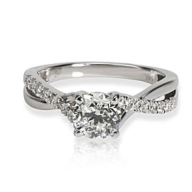 GIA Certified Crossover Diamond Engagement Ring in 14K White Gold F VVS2 1.07CTW