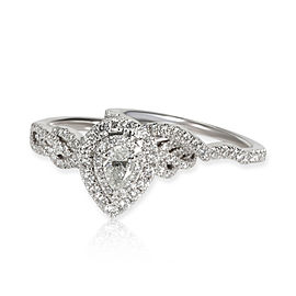 Neil Lane Pear Shape Halo Diamond Wedding Set in 14K White Gold 1.00 CTW