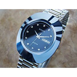 Beautiful Rado Diastar Men's Tungsten Swiss 35mm Precision Quartz Watch 90s PB12