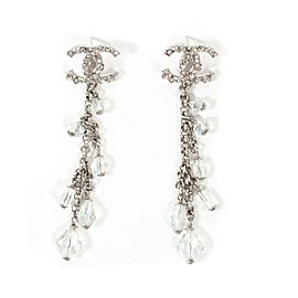Chanel - Dangle Crystal Earrings 2018 Silver CC Logo Long Drop Multi Rhinestone