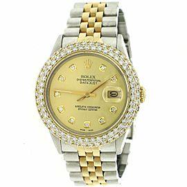 Rolex Datejust 36mm 2-Tone Watch w/4.6CT Diamond Dome Bezel/Champagne Dial