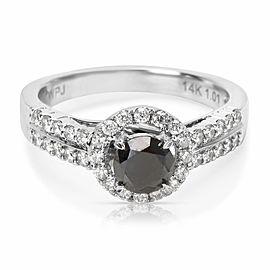 BRAND NEW Black Diamond Engagement Ring in 14k White Gold (1.02 CTW)
