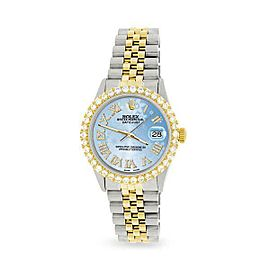 Rolex Datejust 36mm 2-Tone WATCH /3.10ct Diamond Bezel/Blue Flower Diamond Dial