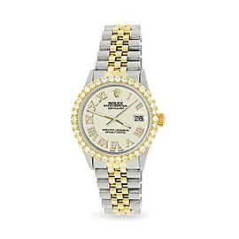 Rolex Datejust 36mm 2-Tone WATCH/3.10ct Diamond Bezel/Linen White Roman Dial