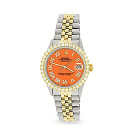 Rolex Datejust 36mm 2-Tone WATCH/3.10ct Diamond Bezel/Pastel Orange Roman Dial