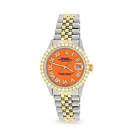 Rolex Datejust 36mm 2-Tone WATCH/3.10ct Diamond Bezel/Pastel Orange Roman Dial