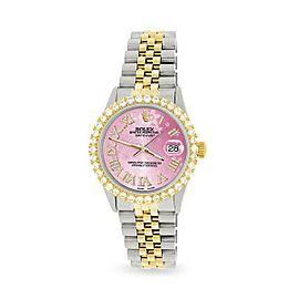 Rolex Datejust 36mm 2-Tone WATCH/3.10ct Diamond Bezel/Pink Flower Roman Dial