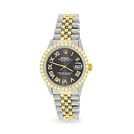 Rolex Datejust 36mm 2-Tone WATCH/3.10ct Diamond Bezel/Rhodium Grey Roman Dial