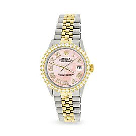 Rolex Datejust 36mm 2-Tone WATCH/3.10ct Diamond Bezel/Royal Pink Roman Dial