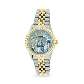 Rolex Datejust 36mm 2-Tone WATCH/3.10ct Diamond Bezel/Tahitian Blue Roman Dial
