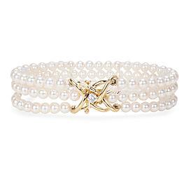 Tiffany & Co. Triple-Strand Pearl Bracelet with Diamond Clasp