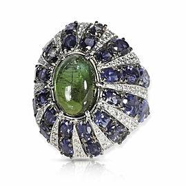 Cabochon Green Tourmaline Lolite & Diamond Ring in 18KT White Gold