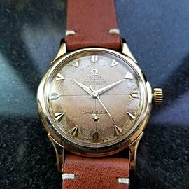 Mens Omega Constellation De Luxe 34mm 14k Gold Automatic, c.1950s Vintage LV666