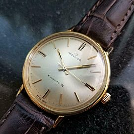 Mens Movado Kingmatic S 34mm 14k Gold Automatic, c.1960s Swiss Vintage GP9BRN