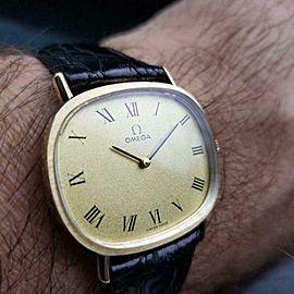 Mens Omega 33mm 14k Gold Hand-Wind Dress Watch, c.1970 Vintage Swiss LV75