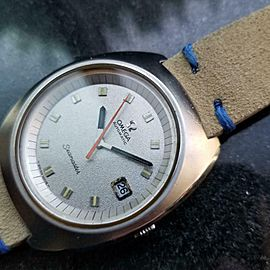 Mens Omega Seamaster 166.087 39mm Date Automatic, c.1970s Swiss Vintage LV352TAN
