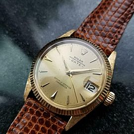 Mens Midsize Rolex Oyster Date 6627 30mm 18k Gold Automatic, c.1960s LV884BRN