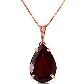 5 CTW 14K Solid Rose Gold Teardrop Garnet Necklace