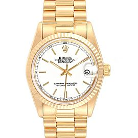Rolex President Datejust Midsize White Dial Yellow Gold Ladies Watch 68278