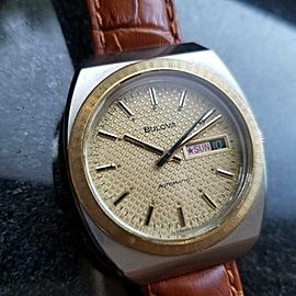 Mens Bulova N7 37mm 18K Gold-Plated & SS Day Date Automatic c.1970s Swiss R1107