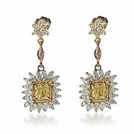 Cushion Diamond Drop Earrings in 18K Gold Fancy Yellow IF 4.39 CTW
