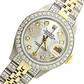 Rolex Datejust 26mm 2-tone Yellow Gold/Steel Jubilee Diamond Watch w/MOP Dial