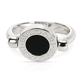 Bulgari Flip Diamond & Onyx Ring in 18KT White Gold 0.07 CTW