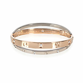 Cartier Joined Love Bracelet in 18KT Rose Gold & White Gold 0.75 CTW
