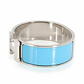 Hermès Blue Enamel Clic Clac H Bangle