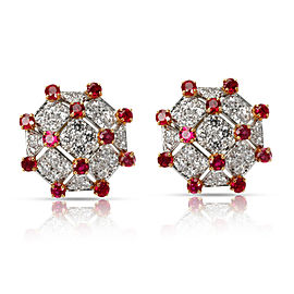 Vintage Tiffany Diamond & Ruby Trellis Earrings in Yellow Gold/Platinum 3.19 CTW