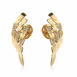 Feather Shield Diamond Earrings in 18KT Yellow Gold 0.30 CTW