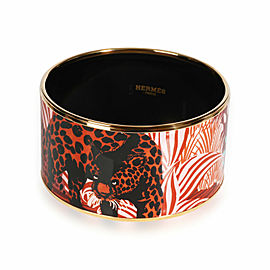 Hermès Jungle of Eden Rose Couture XL Gold Plated Bangle