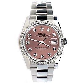 Rolex Datejust 36MM Steel Oyster/Custom Diamond Bezel/Salmon Diamond Dial 116200
