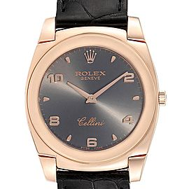 Rolex Cellini Cestello 18K Rose Gold Slate Dial Mens Watch 5330