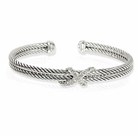 David Yurman Cable Diamond X Bracelet in Sterling Silver 0.22 CTW