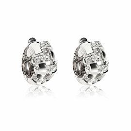Tiffany Vannerie Basket Weave Huggie Diamond Earrings in 18K White Gold 0.40ct