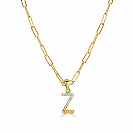 """14k Yellow Gold & Diamond Paperclip Initial """"Z"""" Necklace"""