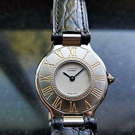 Ladies Swiss must de Cartier 27mm Quartz Dress Watch, c.1980s All Original LV864