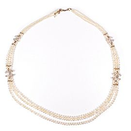 Chanel - New - Triple Strand CC Pearl Necklace - Long Crystal Logo Charm - 38""