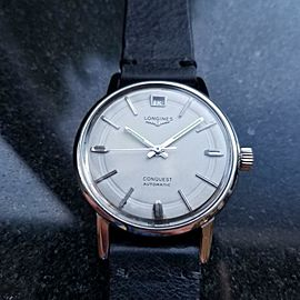Mens Longines Conquest 9024 35mm Automatic with Date 1960s Swiss Vintage LV592