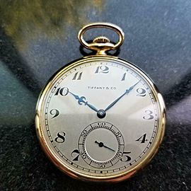 Tiffany & Co. 18K Solid Gold Open Face 1920s Vintage Pocket watch 43mm LV962
