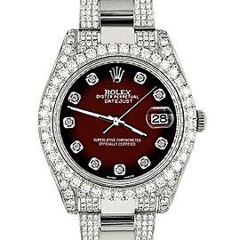 Rolex Datejust II 41mm Diamond Bezel/Lugs/Bracelet/Maroon Vignette Dial Watch