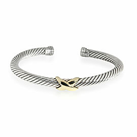 David Yurman X Cable Cuff in 14K Yellow Gold/Sterling Silver