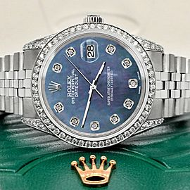 Rolex Datejust 36mm Steel Watch 2.85ct Diamond Bezel/Pave Case/Black Pearl Dial