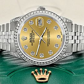 Rolex Datejust 36mm Steel Watch 2.85ct Diamond Bezel/Pave Case/Champagne Dial