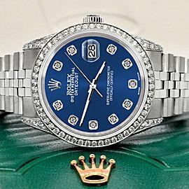 Rolex Datejust 36mm Steel Watch 2.85ct Diamond Bezel/Pave Case/Cobalt Blue Dial