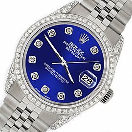 Rolex Datejust 36mm Steel Watch 2.85ct Diamond Bezel/Pave Case/Navy Blue Dial