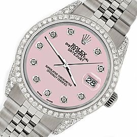 Rolex Datejust 36mm Steel Watch 2.85ct Diamond Bezel/Pave Case/Orchid Pink Dial