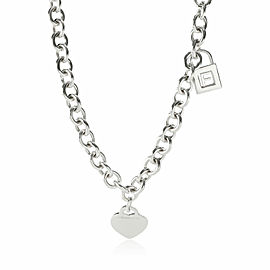 Return to Tiffany Heart Tag Necklace with F Charm in Sterling Silver